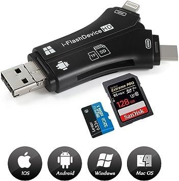 Amazon.com: Card Reader, 4 en 1 I-Flash adaptador de disco ...