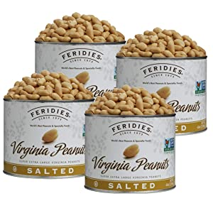 FERIDIES Super Extra Large Gourmet Salted Virginia Peanuts - 40oz Can (Pack of 4)