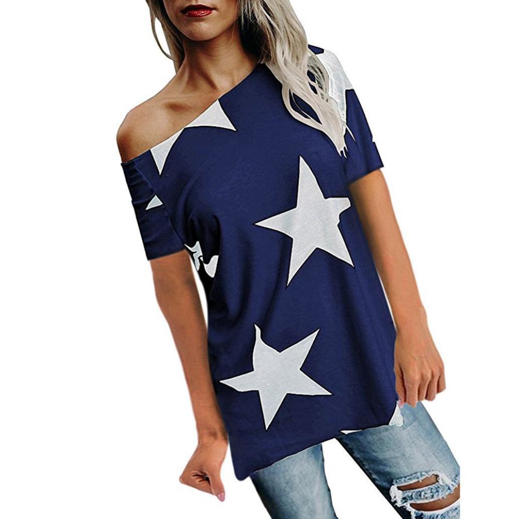 Frauen Shirt LSAltd Damen Mode aus der Schulter Oberteile Sterne Print Kurzarm Bluse Lässig Schick T Shirt Sommer Crop Top LSAltd-Damen Kleidung