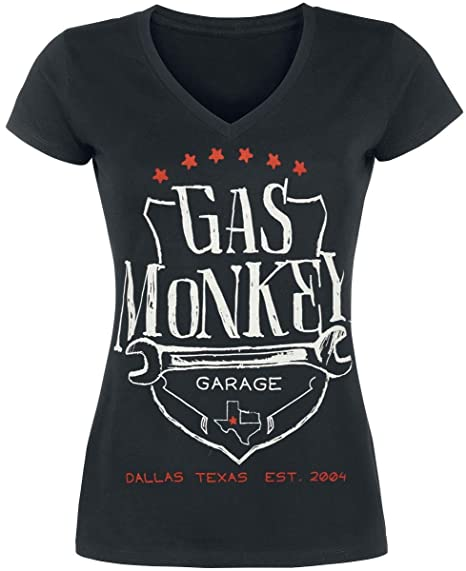 Gas Monkey Garage Wrench Shield Camiseta Mujer Negro: Amazon.es: Ropa y accesorios