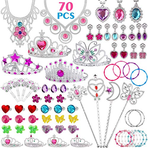 FittiDoll 70Pack Princess Pretend Jewelry Toy, Girl's Jewelry Dress Up Play Set Pretend Play Jewelry Set for -