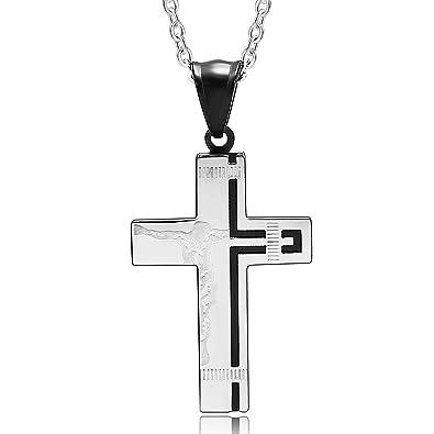 Beydodo Colgante Cruz Acero Inoxidable Cruz Jesús Negro ...