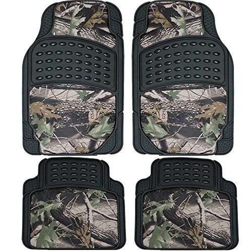 (U.A.A. INC. 4pc All Weather Waterproof Front Rear Rubber Camo Car Floor Mats Set Camouflage Jungle Forest Hunting Car Truck (Black))