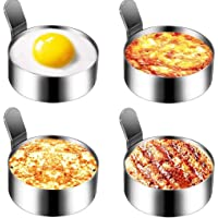 Emoly Stainless Steel Egg Ring, 4 Pack 3 Inch Fried Egg Mold for Cooking Non Stick Pancake Rings Metal Kitchen Cooking…