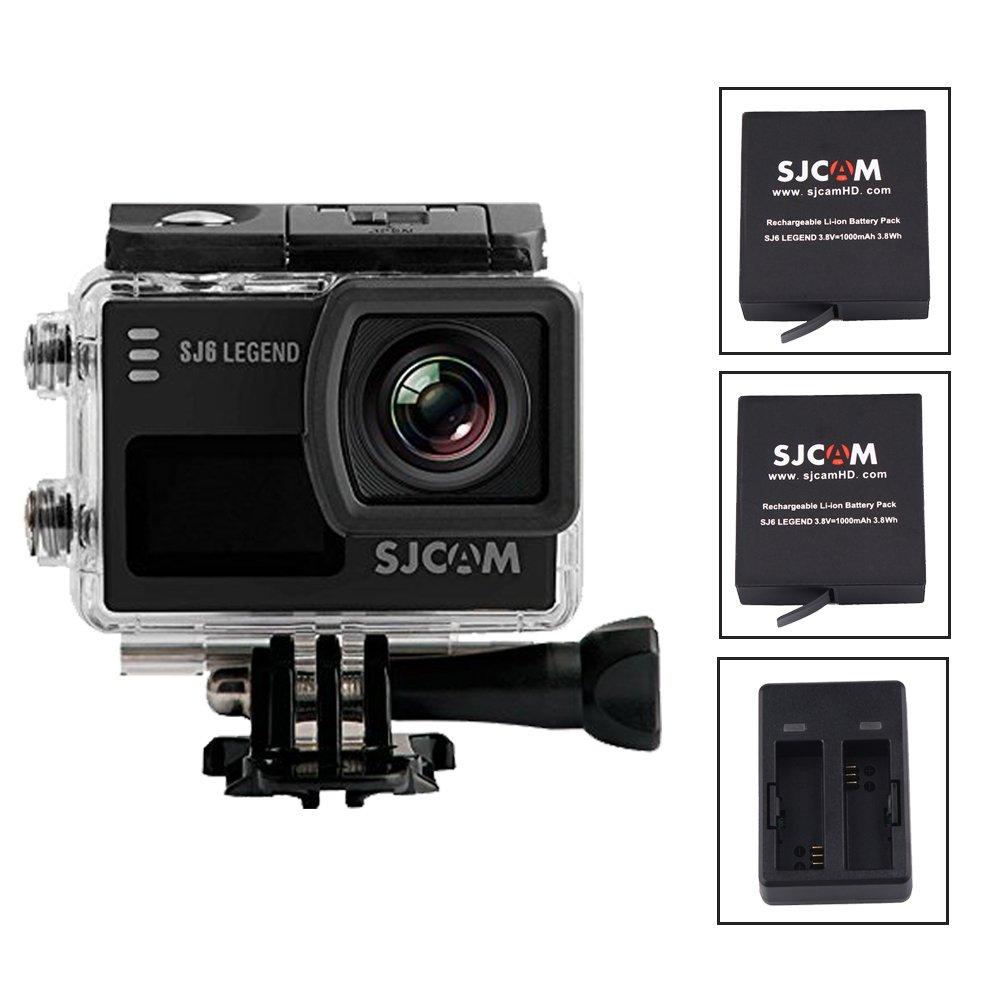 SJCAM SJ6 Legend Action Kamera, 4 K 24 FPS Ultra HD notavek 96660 30 m wasserdichte Sport-Kamera DVR, 5,1 cm Touchscreen Fernbedienung Sport DVR + 2 Batterien + 1 Doppel-Laden, schwarz