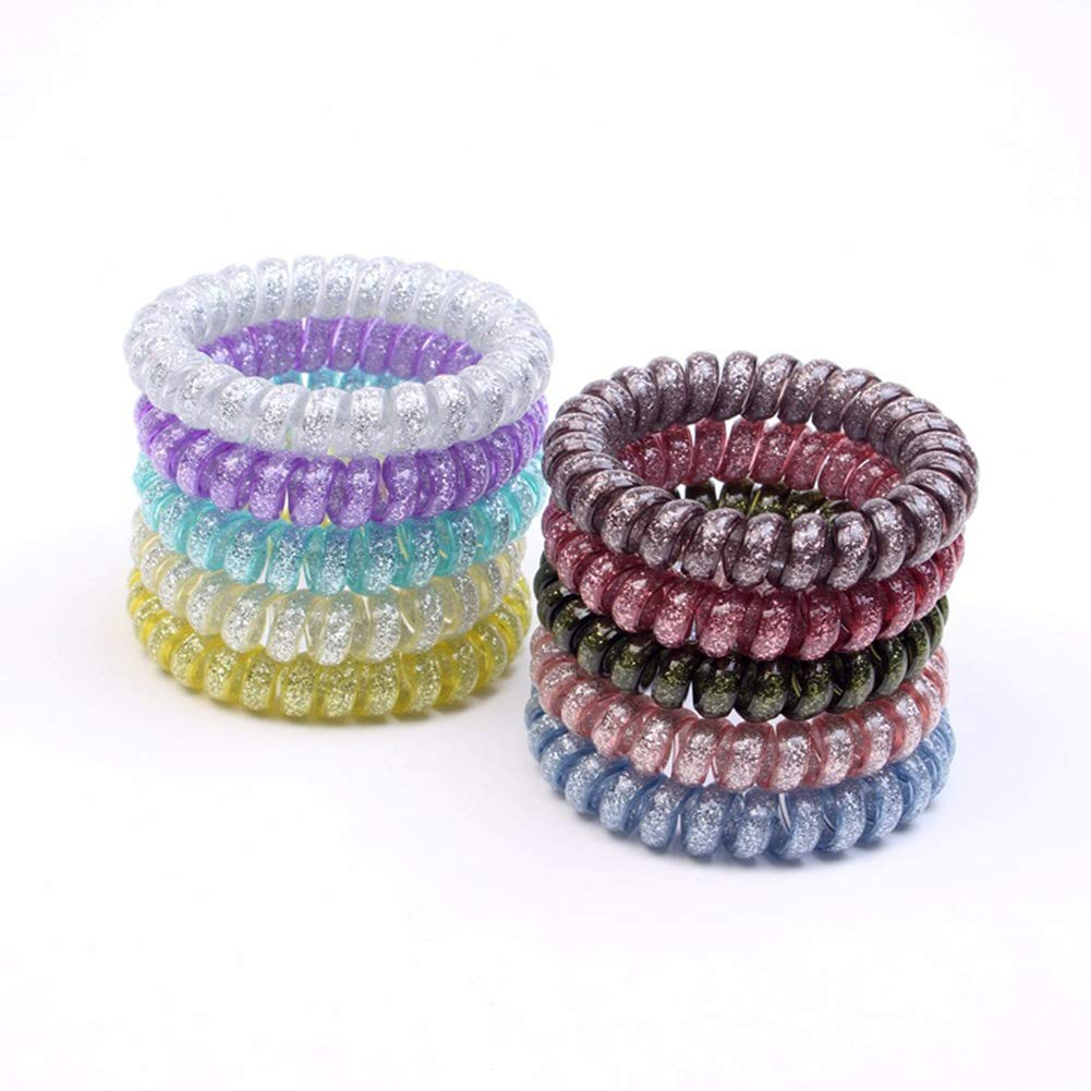 ABBECIAO 10 PCS Spiral Hair Ties, Coil Hair Ties, Phone Cord Hair Ties, Hair Coils No crease Premium Thick Hair Ponytail Holders with Assorted Metallic Color for Women Girls