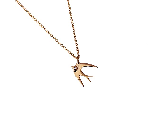 Amazon small delicate sparrow bird necklace 14k gold pendant small delicate sparrow bird necklace 14k gold pendant on 16 inch dainty chain aloadofball Images