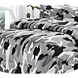 Clara Clark Colored Camouflage Goose Down Alternative Double Fill All Season Comforter, King, Black/Gray
