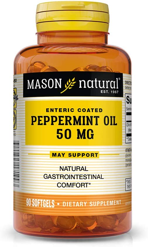 Mason Natural, Peppermint Oil, Enteric Coated Soft Gels, 50 Mg, 90 Count, Herbal Dietary Supplement Supports Healthy Digestion, Promotes Natural Gastrointestinal Comfort, May Help Those with IBS