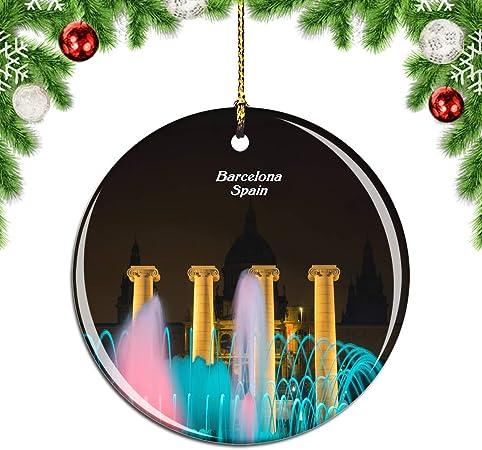 Weekino España La Fuente Mágica Barcelona Decoración de Navidad Árbol de Navidad Adorno Colgante Ciudad Viaje Colección de Recuerdos Porcelana 2.85 Pulgadas: Amazon.es: Hogar
