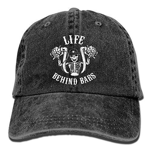 (Life Behind Bars Motorcycle Biker Washed Retro Adjustable Cowboy Caps Baseball Hat For)