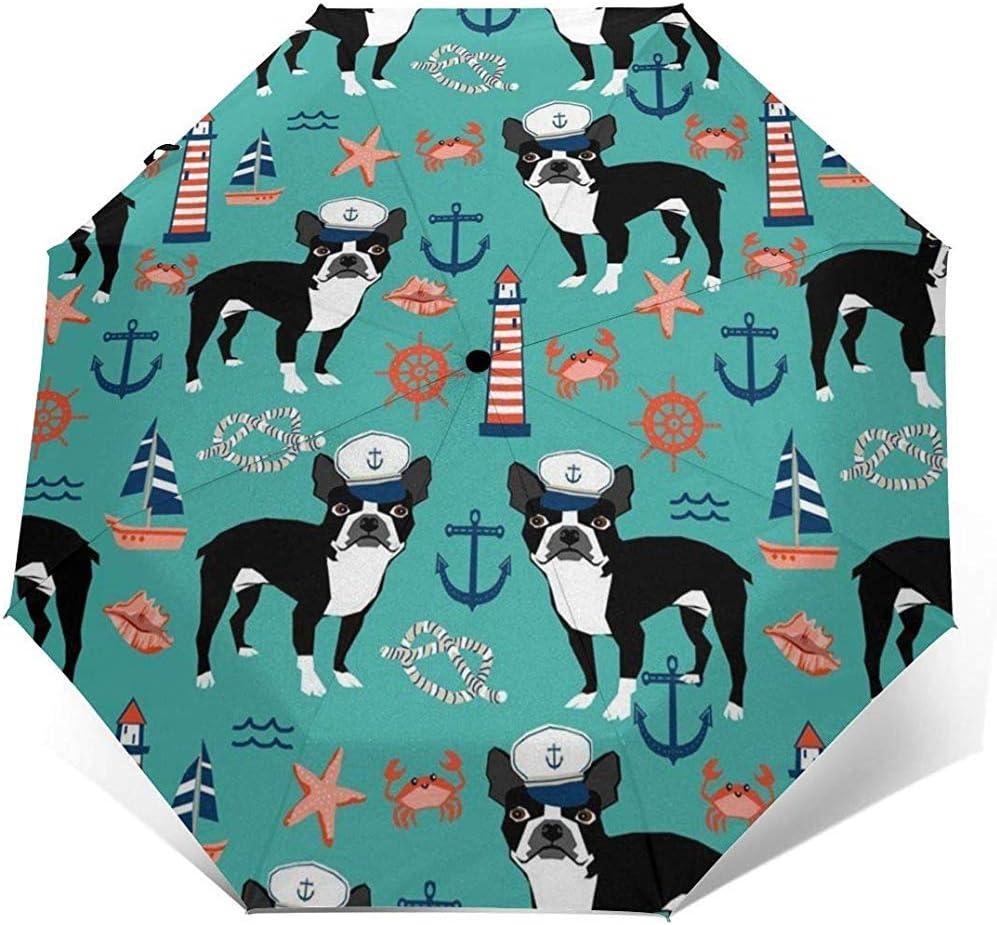 Boston Terrier Dog Travel Umbrella Sombrilla para el Sol-Ligero a Prueba de Viento Protector Solar Paraguas-Botón de Apertura y Cierre automático