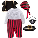 May's Baby Boys Captain Infant Costumes Cap Stinker Pirate Costume 4pcs Set