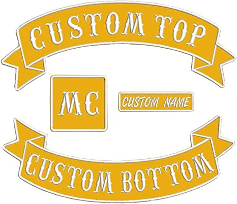 Custom Patch Vest Biker Motorcycle Rocker Name Patches White on red