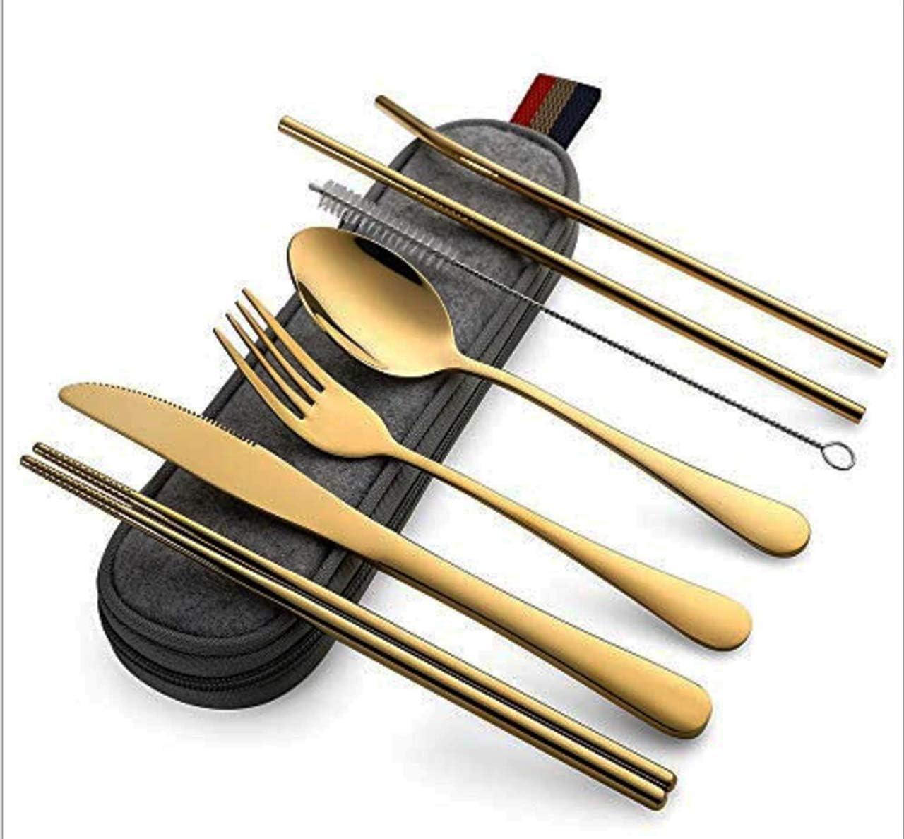 Fourchette 8 Pi/èces,dor Cuill/ère Set ensemble couverts de Table Sac Portable y Compris Couteau Pailles Rucoe Pochette Couvert Inox Camping - Baguettes Brosse de Nettoyage