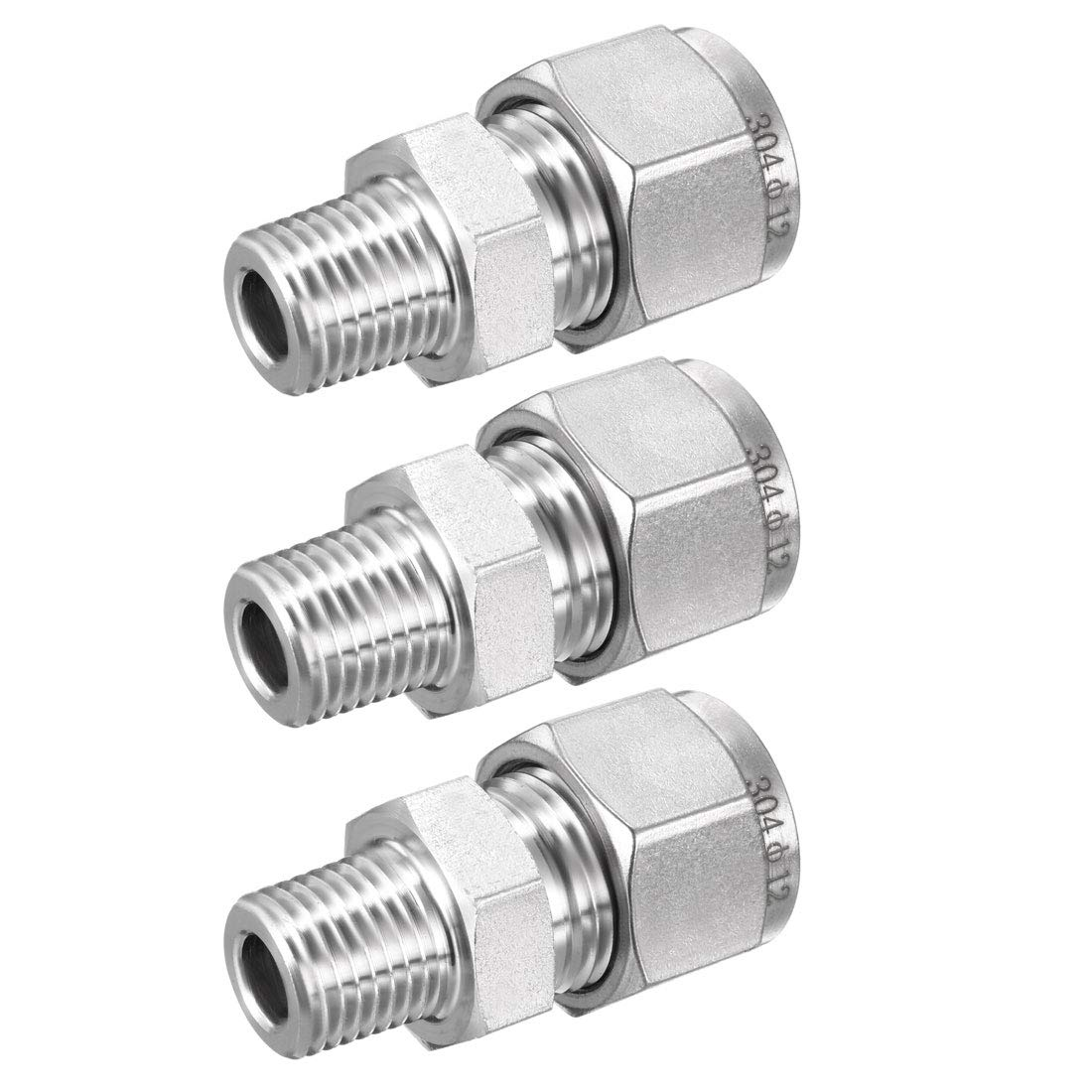 uxcell Stainless Steel Compression Tube Fitting 3//8-inch NPT Male x Ф12 Tube OD