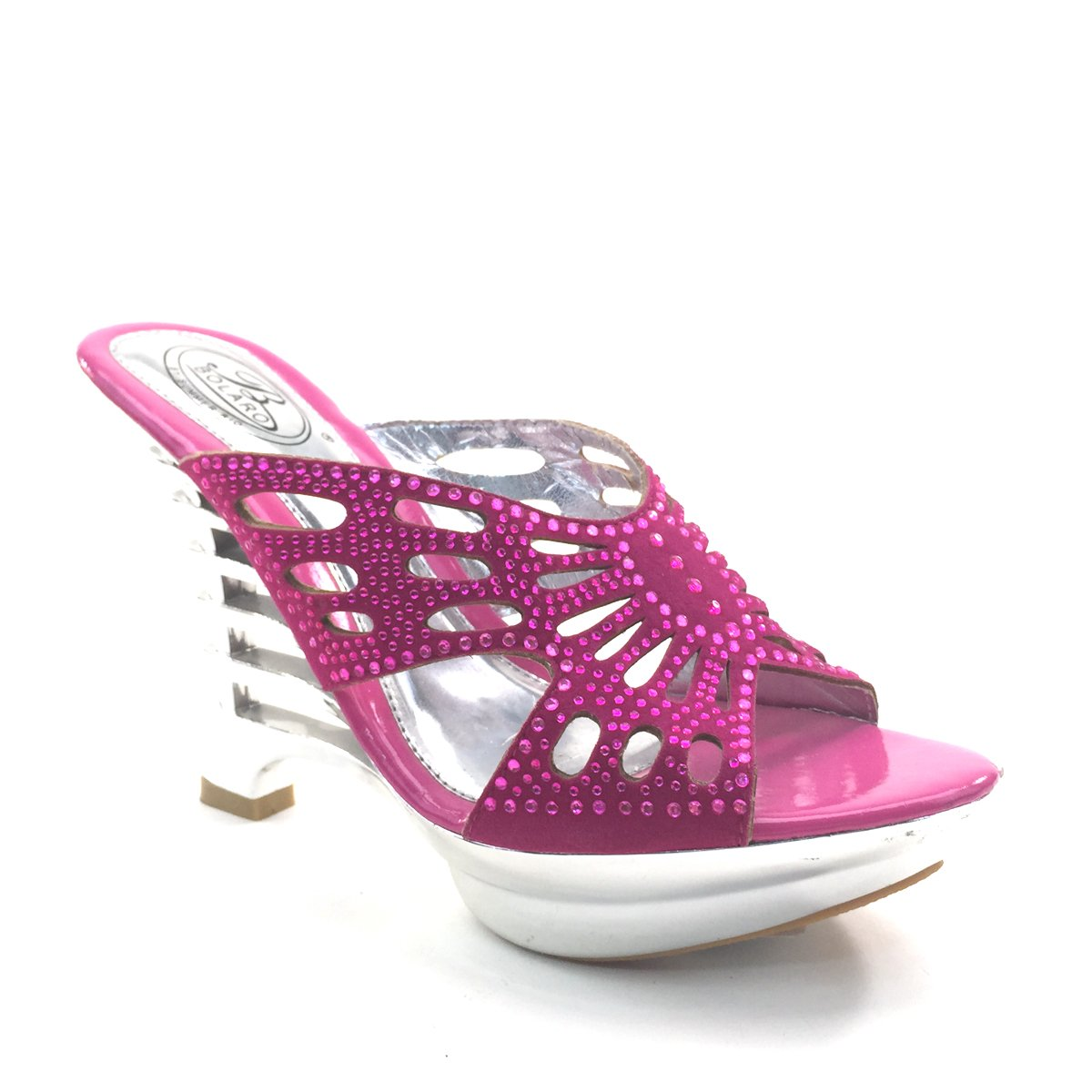 New Brieten Women's Rhinestone Cut Out Wedge Platform Slide Sandals B00HVUT1S4 6.5 B(M) US|Fuchsia