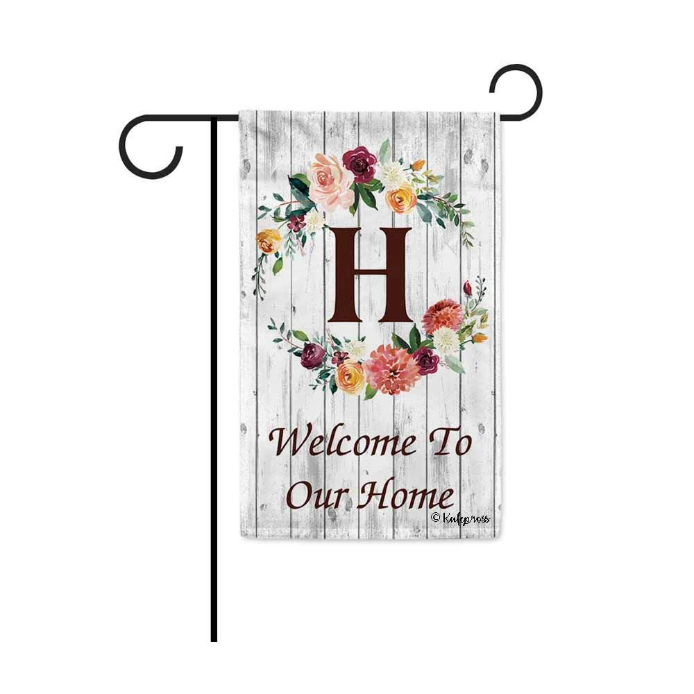 KafePross Hello Spring Flowers Summer Initial Letter Monogram H Garden Flag Welcome to Our Home Warminghouse Decor Banner for Outside 12.5X18 Inch Double Sided