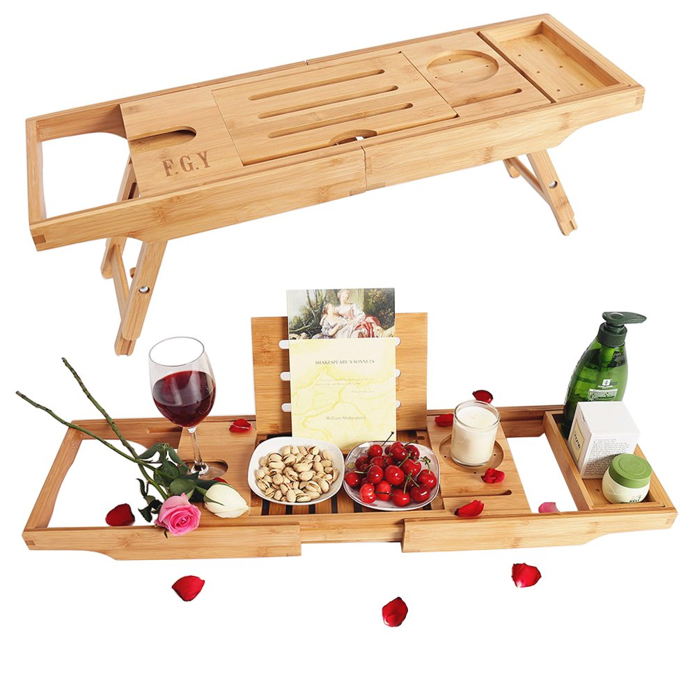 Bathtub Caddy Tray & Laptop Desk Table,2 In 1 Improved Design Adjustable Bamboo Serving Tray and Organizer, Transforms Bathtub Tray To Bed Tray, for an Ultimate Relaxation in The Bath F.G.Y
