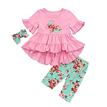 91228ec34 Image Unavailable. Image not available for. Color: Baby Clothes Girl Boy  Clearance Little Girls Sleeve Trumpet Sleeve Easter ...