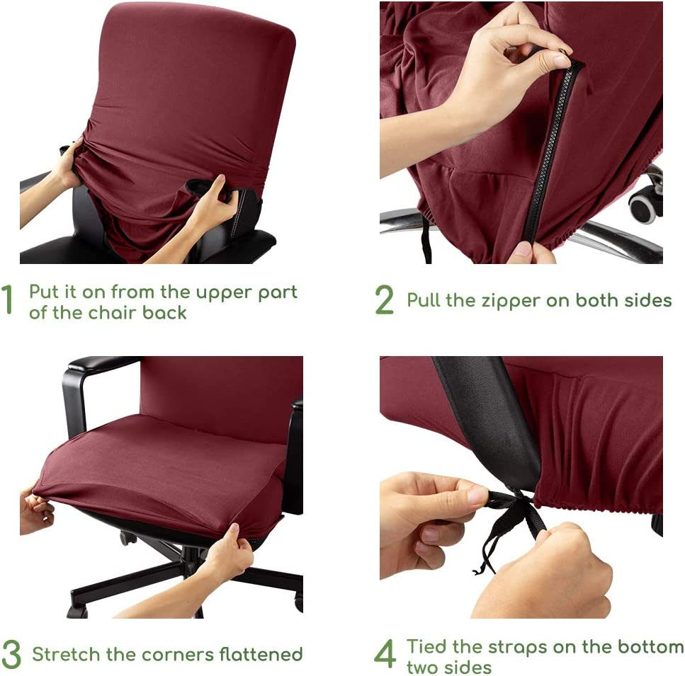 Weinrot, L B/ürostuhl bezug B/ürostuhlabdeckung Stuhlhussen Drehstuhl Bezug Moderne Stuhl /Überzug Sessel Cover Elastische Waschbar Stuhlhussen Set f/ür die B/ürostuhl Computer Schreibtischstuhl