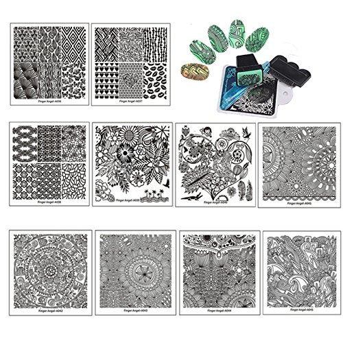 Finger Angel 10Pcs Stamping Nail Art Plate With Plastic White Holder Nail Plate + 1 Pcs Square Green Rubber Stamper DIY Nail Art Image Stamp Plates Manicure Template Nail Art Tools Haiqiang