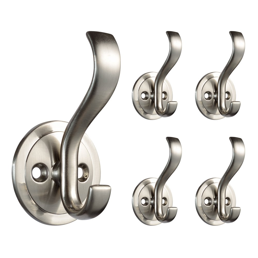Franklin Brass B42307M-SN-C B42307M-Sn-C Coat And Hat Hook With Round Base (5 Pack), Satin Nickel
