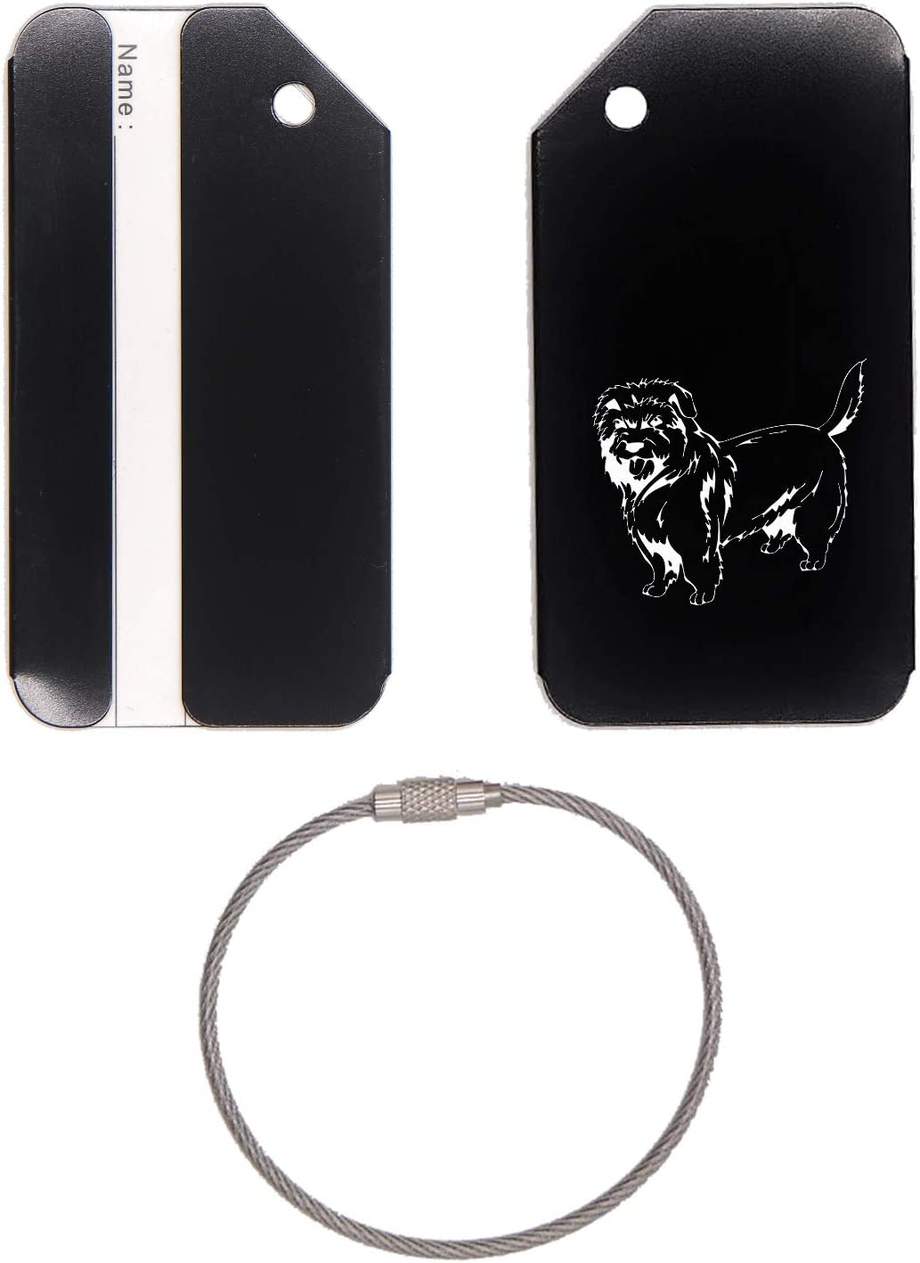 Dutch Smoushond Dog Stainless Steel - Engraved Luggage Tag (Jet Black) - United States Military Standard - For Any Type Of Luggage, Suitcases, Gym Bags, Briefcases, Golf Bags