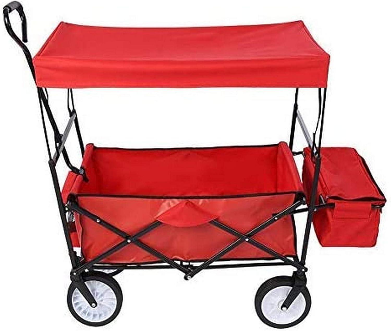 SCJ Carro de jardín Plegable 4 Ruedas con Techo extraíble Carro de Transporte Carro Multifuncional con Brazos Remolque de Transporte de jardín 116 x 54 x 119 cm, Capacidad de 75 kg