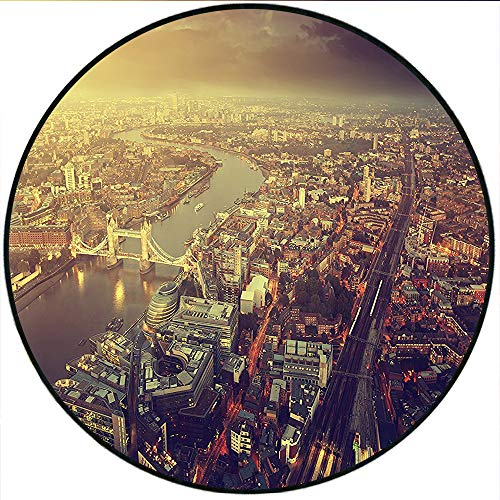 Short Plush Round Carpet Fabric Divider Panel Modern European City Art Sky Photography Sepia Brown Yellow Dark Blue Living Room Computer Chair 27.5