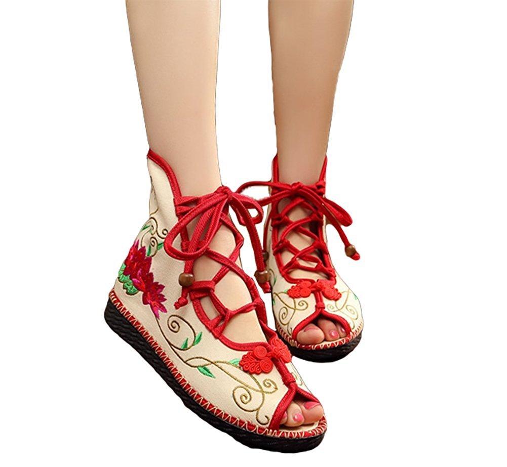 Kool Classic Women's Embroidery Open Toe Lace-up Gladiator Roman Flats Sandal B06XVQWDQK 38 M EU=7.5 B(M) US|Lotus Red