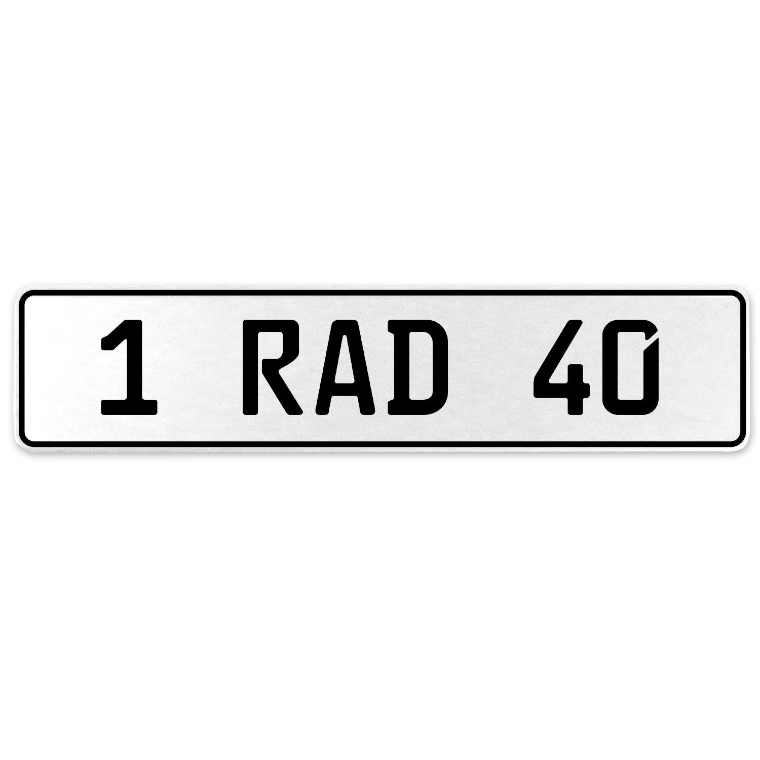 Vintage Parts 554043 1 RAD 40 White Stamped Aluminum European License Plate