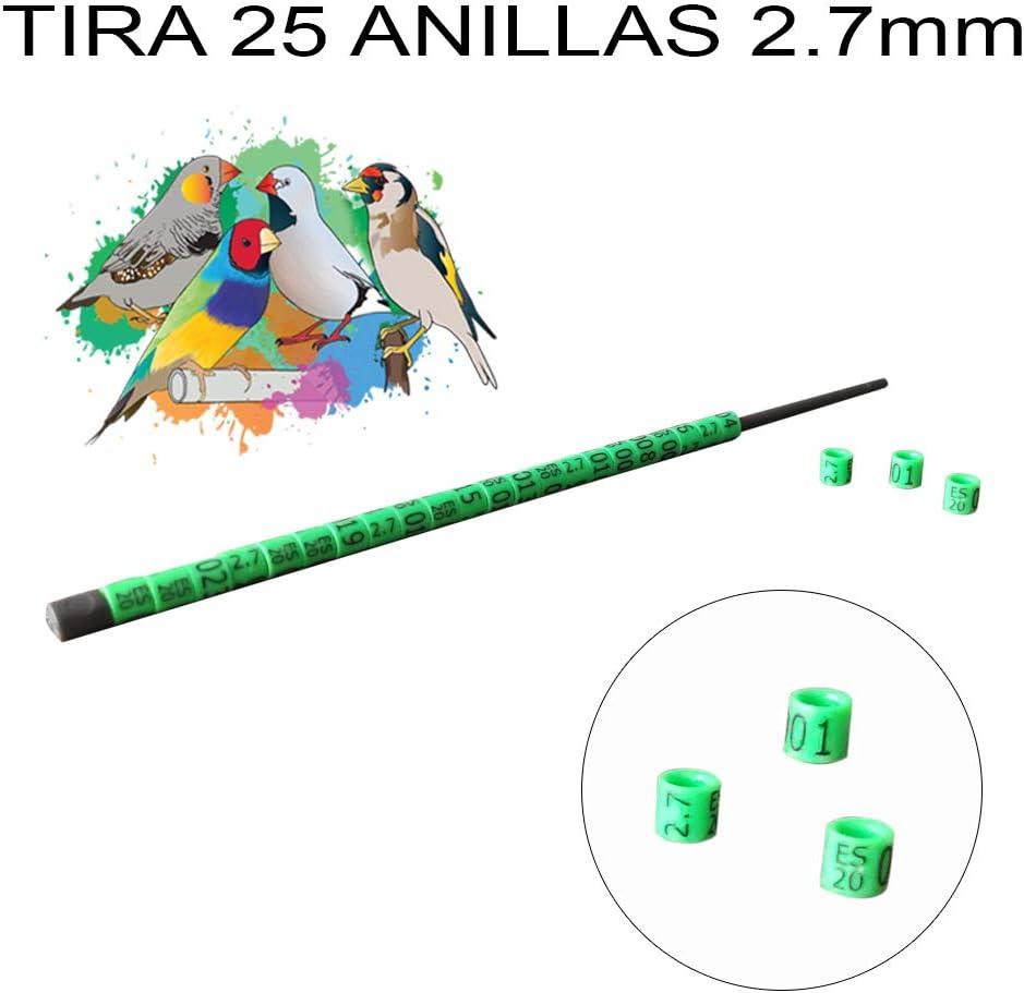 nestQ Anillas Canarios Españolitos Jilgueros Mayor Exotiocos 2020 Color Verde Federativo Policromo Grabado Laser Cerradas 2.7 mm Numeradas con Año Marcado 1 Tira 25 Anillas