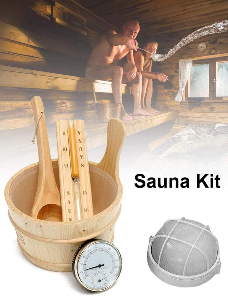 awhao 5 PCS Sauna Set en Bois Seau De Sauna Minuterie De Sable Et Kit De Lampe Accessoires De Douche Steam Room Pretty Thermom/ètre//Hygrom/ètre Cuill/ère /À Louche