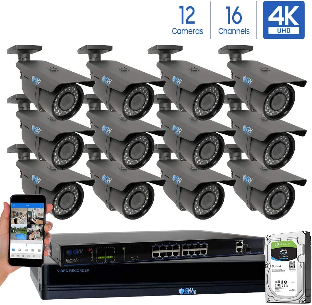 GW 16 Channel 4K NVR 8 Megapixel H.265 Video PoE Security Camera System – 12 x 8MP 2160P Weatherproof 2.7-13.5mm Varifocal UltraHD 4K IP Bullet Cameras, 196ft IR Night Vision, Pre-Installed 4TB HDD
