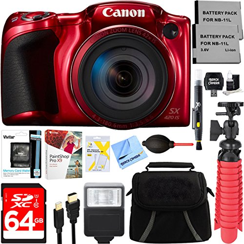 Canon PowerShot SX420 IS 20MP 42x Optical Zoom Digital Camera (Red) + Two-Pack NB-11L Spare Batteries + Accessory Bundle by Beach Camera