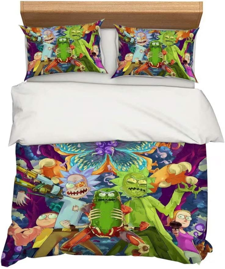 Boloni Dress Queen Kids Duvet Cover Sets,3D Rick and Morty Printing Bedding Set for Teenger Boys Girls,Super Soft Microfiberfor 3 Pieces Quilt Comforter Cover (1 Duvet Cover+ 2 Pillowcases)