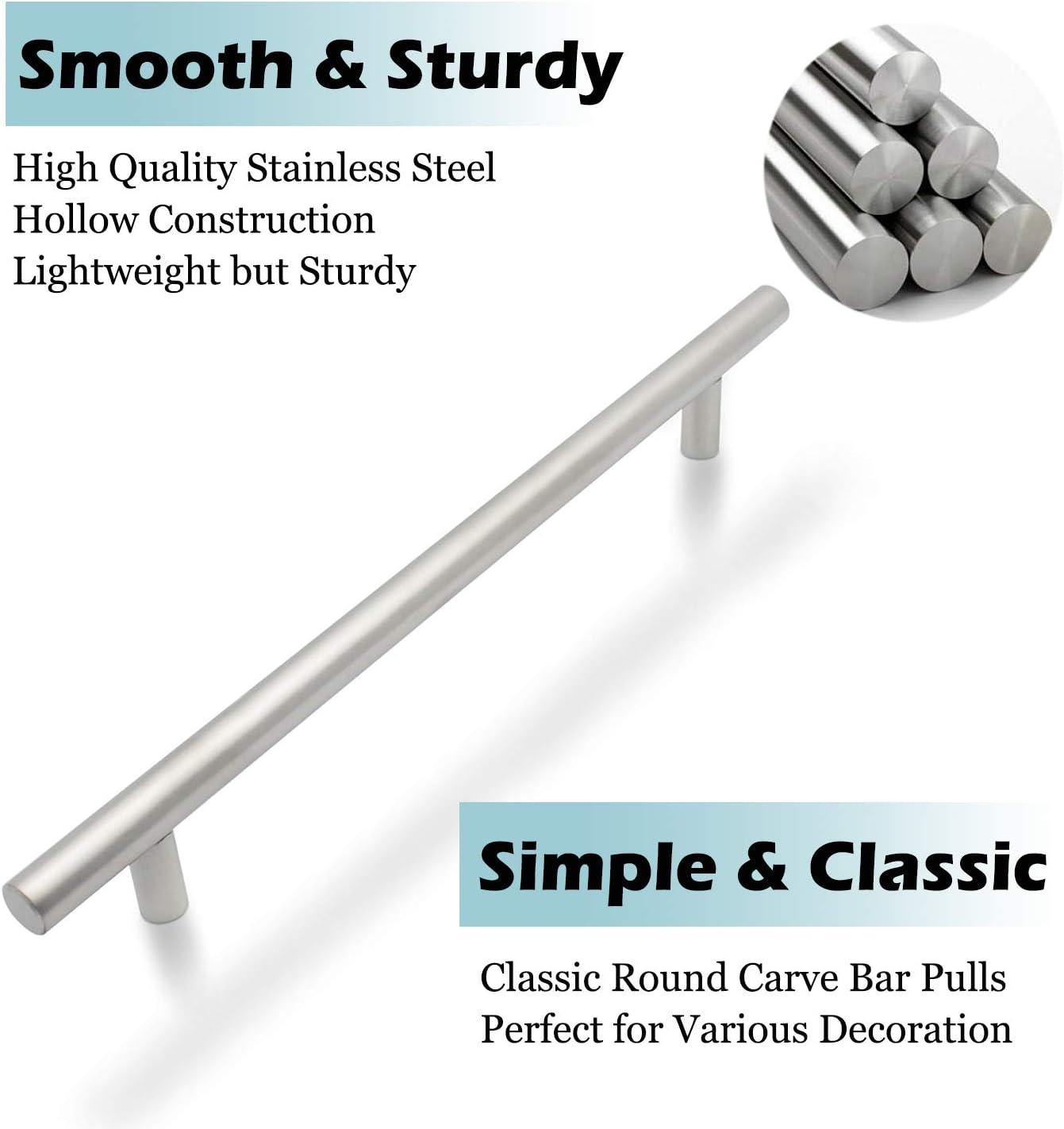 N/íquel cepillado tirador armario de cocina de acero inoxidable moderno puerta tiradores Hardware 192/mm distancia entre orificios 256/mm de longitud total