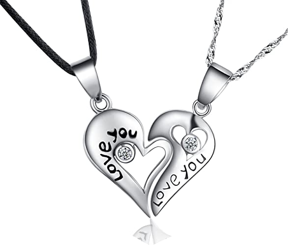 Amazon Com Forfamilyltd Sterling Silver Two Piece Heart Love You