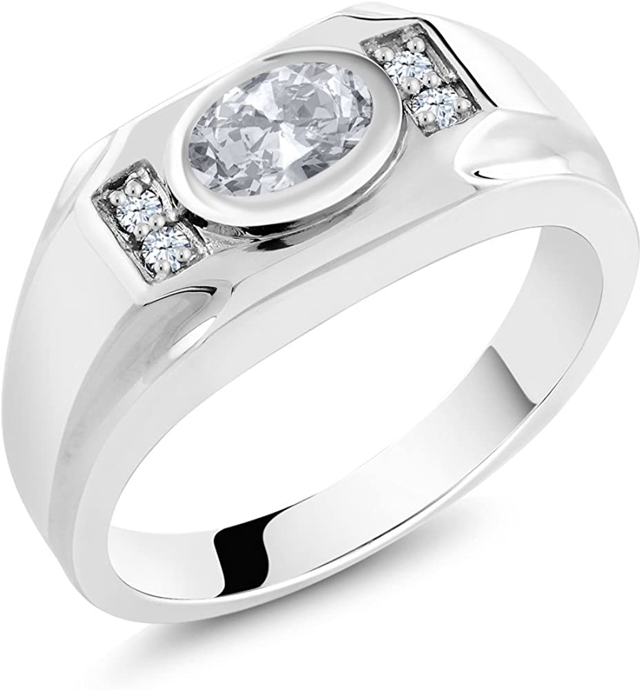 Gem Stone King 1.76 Ct Oval White Topaz White Created Sapphire 925 Sterling Silver Mens Ring