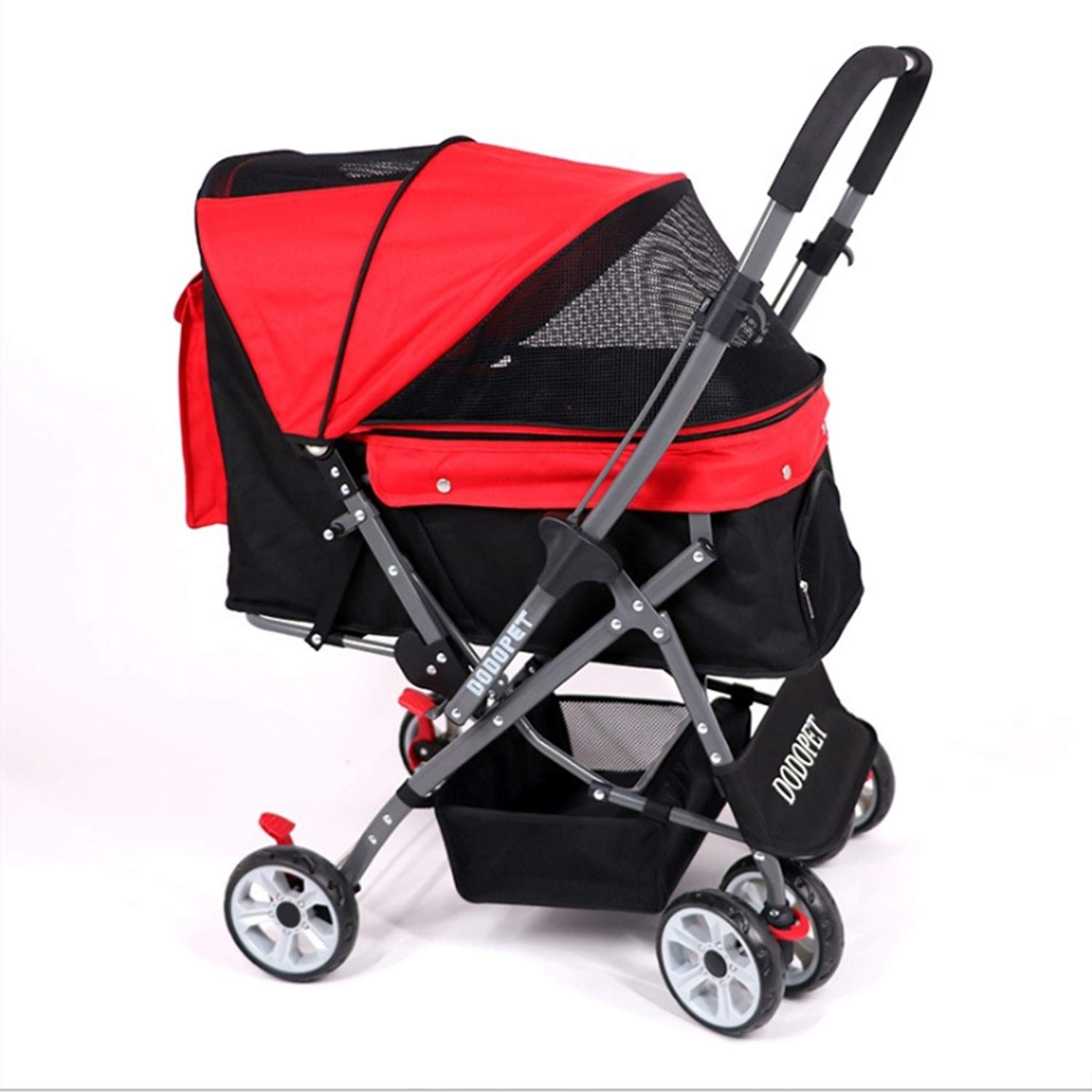 Pet Four-Wheeled Trolley Cat and Dog Cart Shockproof and Durable Adjustable Direction Ventilation One Button Folding Suitable for Travel
