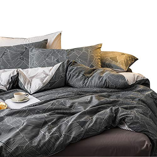 MKXI Duvet Cover Set Garden Style Bedding Set Queen White Leaves Pattern Stripes Reversible Cotton Bedroom (Garden Duvet Cover Set)