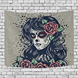 Sugar Skull Dia De Los Muertos Art Decoration, Bedroom Living Kids Girls Boys Room Dorm Accessories Wall Hanging Tapestry, 60X51 Inches