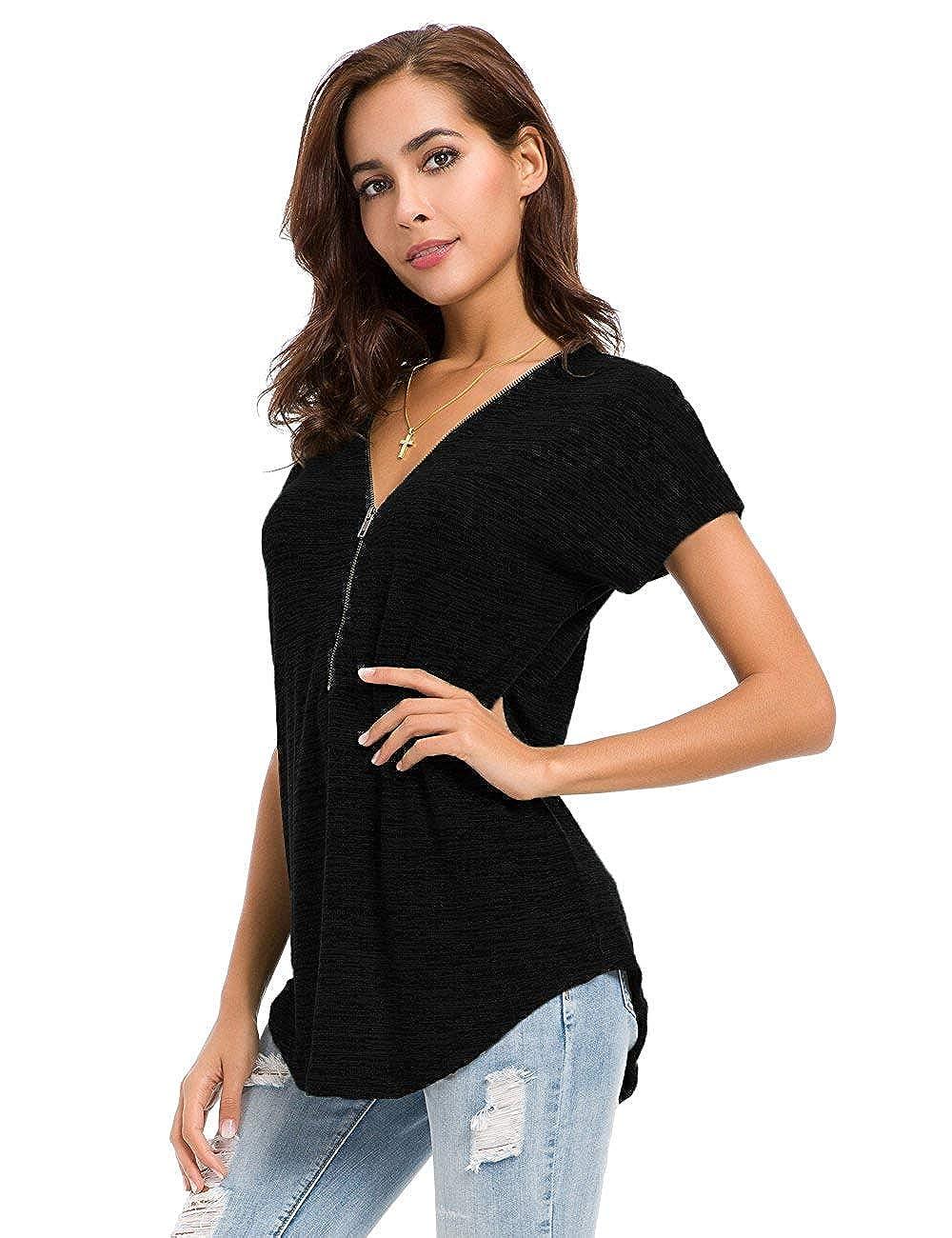 Avacoo Damen T Shirt Zipper V-Ausschnitt Kurzarm Tops Tunika Casual T Shirts Bluse mit Rei/ßverschluss