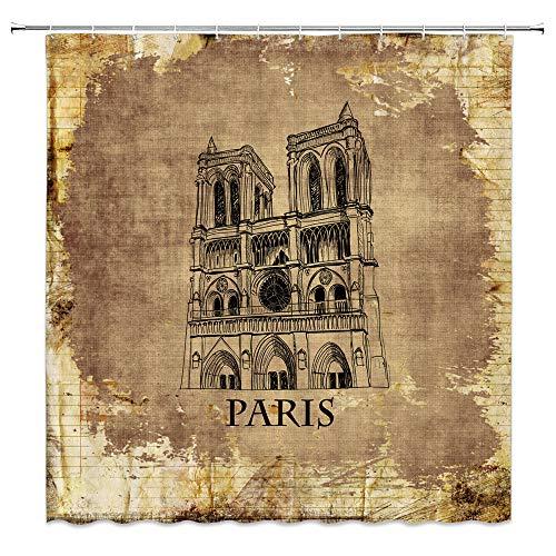 dachengxing Paris Shower Curtain Retro Decor Notre Dame de Paris France Famous Landmarks Gothic Architecture Waterproof Brown Fabric Bathroom Hooks Included 70x70 Inch