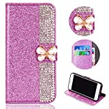 Glitter Leather Wallet Case for Samsung Galaxy A6 2018,Shinyzone Luxury Diamond Sparkle 3D Butterfly Magnetic Buckle Women Series Design Cover for Samsung Galaxy A6 2018,Purple