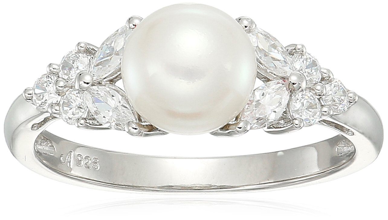 sterling silver freshwater cultured white pearl and white cubic zirconia ring, size 7