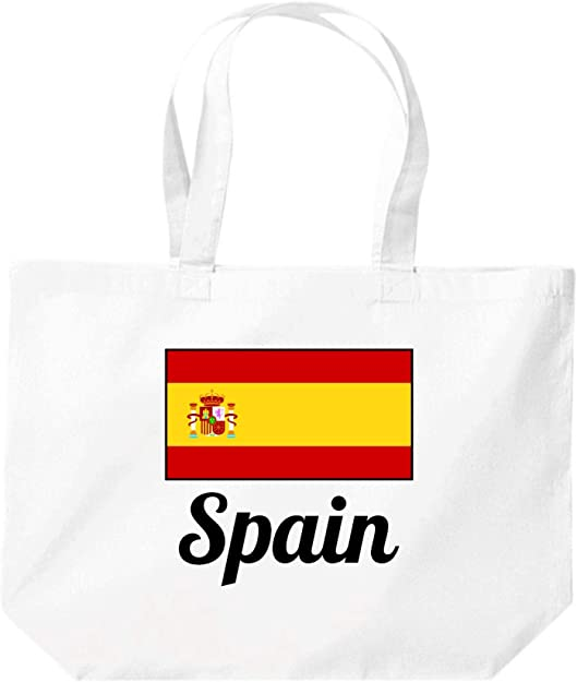 Shirtinstyle Grande Bolsa de Compras, Land,Países,España,España - blanco, 35 cm x 39 cm x 13 cm: Amazon.es: Zapatos y complementos