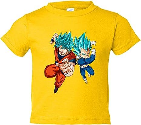 Camiseta niño ilustración Goku y Vegeta en nivel Super Saiyan Dios pelo azul - Amarillo, 3-4 años: Amazon.es: Bebé