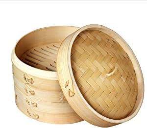Natural Bamboo Steamer Basket,2 Tier Food Pot Basket Cooker,Chinese Food Steamer,Asian Style Cookware,Great for Dumplings, Vegetables, Chicken, Fish, Dim Sum (10 Inches)